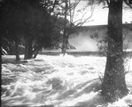 Picture relating to Cotter Dam - titled 'Cotter Dam and spillway in flood'