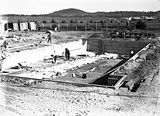 Picture relating to Manuka - titled 'Manuka swimming pool, under construction, Manuka Circle, Kingston.'