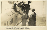 Picture relating to Longreach - titled 'Lady Goodwin and Sir John Goodwin at Longreach after a flight in the Hermes, 1928'