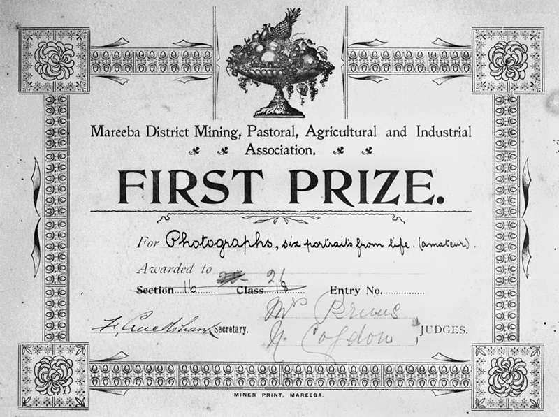 Bonzle First Prize Certificate awarded to an unidentified amateur – First Place Award Certificate