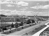 Picture relating to Parliament House - titled 'Old Parliament House from West Block, looking across the Senate Gardens and tennis courts.'