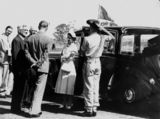 Picture of / about 'Oakey' Queensland - Queen Elizabeth II and Prince Philip, The Duke of Edinburgh, arrive at Oakey Airport, 1954
