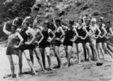 Picture relating to Lindeman Island - titled 'Women in their swimming costumes, on the beach at Lindeman Island, Queensland, Christmas 1928'