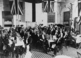 Picture relating to Maryborough - titled 'Men seated inside the dining room at the Royal Hotel, Maryborough, Queensland, ca.1915'