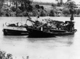 Picture relating to Brisbane - titled 'Gravel processing barge and tug boat in the Brisbane River, Brisbane, Queensland'