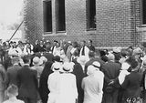 Picture relating to Canberra Grammar School - titled 'Laying the Foundation Stone for the Canberra Church of England Boys Grammar School Flinders Way, Red Hill- Clergy and speakers.'