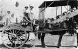 Picture relating to Croydon - titled 'Children in fancy dress riding in a horsedrawn wagon at the showgrounds, Croydon, ca. 1911'