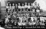 Picture relating to Warwick - titled 'Happy school days at Warwick East State School, 1936'