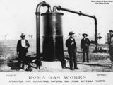 Picture relating to Roma - titled 'Apparatus for separating natural gas from artesian water at the Roma Gas Works, Queensland, ca. 1906'