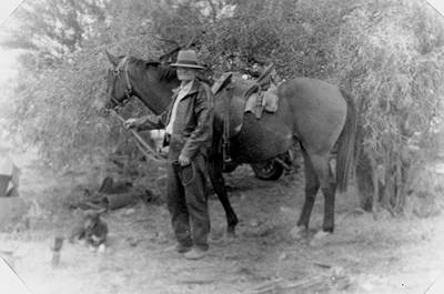 Picture of / about 'Winton' Queensland - Albert Cragg with his horse in Winton