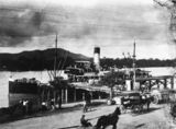 Picture relating to Rockhampton - titled 'Ship docked at the wharves in Rockhampton, ca. 1910'