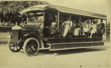 Picture relating to Rockhampton - titled 'Vulcan motor bus on an excursion run, ca. 1920'
