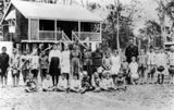 Picture relating to Miriam Vale - titled 'Pupils and teacher outside the Miriam Vale State School, 1918'