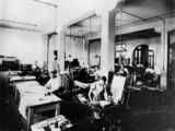 Picture relating to Brisbane - titled 'Lithograph press department, Government Printing Office, Brisbane, 1921'