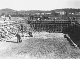 Picture relating to Kingston - titled 'Manuka swimming pool under construction, Manuka Circle, Kingston.'