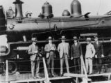 Picture relating to Pinkenba - titled 'Locomotive aboard the M.S. Belray at Pinkenba Wharf, Brisbane, Queensland, 7 July 1927'