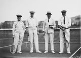 Picture relating to Latham - titled 'Mr Latham, Sir Littleton Groom, Dr Earle Page and Sir John Butters in tennis gear at the opening of the new Canberra Tennis Association Central Courts, Manuka.'
