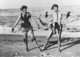 Picture relating to Bucasia - titled 'Essie McKay and Althea Cook on the beach in Bucasia, 1931'