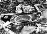 Picture relating to Brisbane - titled 'Aerial view of a display at the Exhibition Ground for Queen Elizabeth II, Brisbane, 1954'