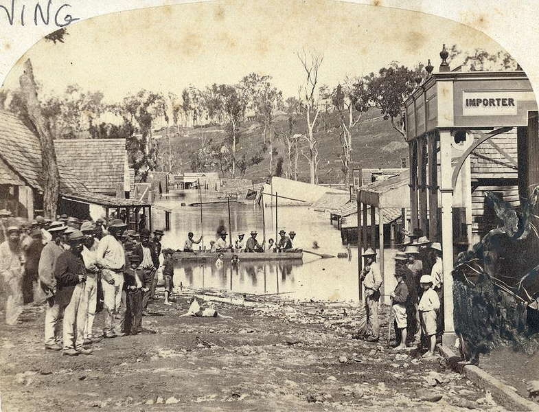 Picture of / about 'Gympie' Queensland - Flooded main street in Gympie, 1870