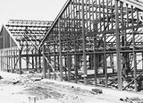 Picture relating to Black Mountain - titled 'CSIR Greenhouses under construction, Clunies Ross Street, Black Mountain.'