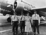 Picture relating to Queensland - titled 'Crew and Queensland Airlines DC3 plane, 'Wide Bay', 1953'