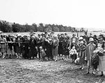 Picture relating to Ainslie - titled 'School children at the opening the Ainslie School in September 1927'