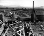 Picture relating to Weston Creek - titled 'Weston Creek Sewerage Treatment Works under construction with donkey boiler'