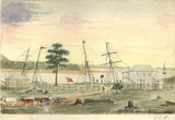 Picture relating to Mackay - titled 'Charles Rawson's watercolour of Port Mackay'