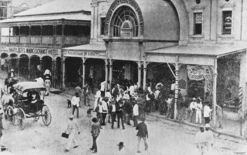 A scene in Mosman Street outside the Stock Exchange during a brief  speculation boom in October 1891. [Description supplied with photograph]  Other buildings ...