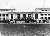 Picture relating to Parliament House - titled 'Armistice Day, Old Parliament House front steps with RMC [Royal Military College] Cadets and spectators.'