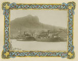 Picture relating to Townsville - titled 'Ships moored at the wharves in the shadow of Castle Hill, Townsville, 1913'