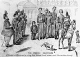 Picture relating to Ipswich - titled 'Cartoon showing a review of the Ipswich Volunteers in 1866'