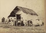 Picture relating to Stanley - titled 'Sailors from the survey ship, Dart, at their shore hut at Stanley, Queensland'