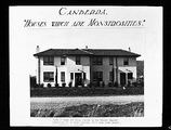 Picture relating to Canberra - titled 'Copy of photo showing a Canberra semi detached house [Booroondara St Reid] entitled 'Houses which are monstrosities' being built by the Federal Capital Commission'