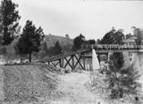Picture relating to Murrumbidgee River - titled 'Flood damage to bridge over the Murrumbidgee River near the Cotter Pump House - 1922 floods - Reconstruction of western abutments'
