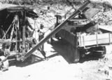 Picture relating to Black Mountain - titled 'Steam shovel loading motor truck Excavation for Black Mountain Reservoir'