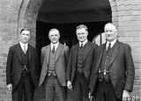 Picture relating to Page - titled 'Left to right, Hon T Paterson, Sir William Glasgow, Sir Earle Page, Hon C. L. A. Abbott.'
