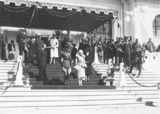 Picture relating to Bruce - titled 'Duke and Duchess of York and Prime Minister S M Bruce on Old Parliament House steps for the Royal Review'